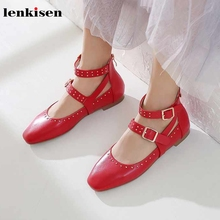 Lenkisen/Лидер продаж; брендовые туфли mary jane из натуральной кожи с круглым носком; модные женские туфли-лодочки принцессы на низком каблуке с пряжкой и заклепками; сезон осень; Lwf7