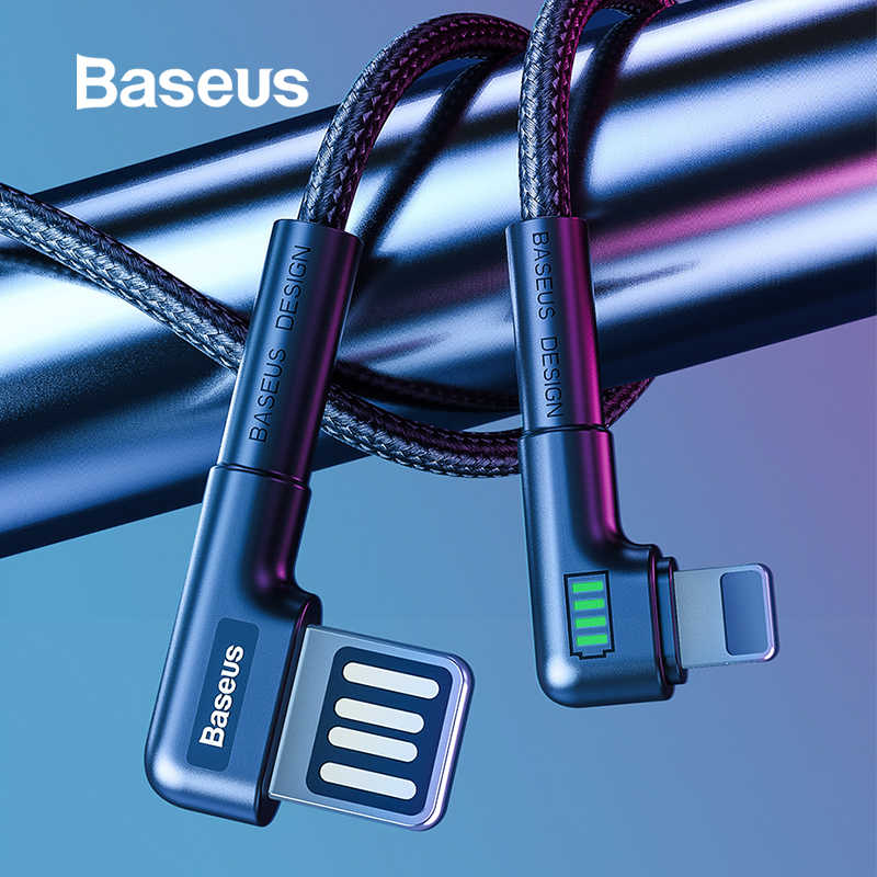 BASEUS Kabel Pengisian USB Double Bend Desain untuk iPhone 11 X Max XR 8 PLUS 2.4A Cepat Charger Kabel Data kabel USB Charge Kabel