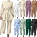 Мусульманский женский арабский костюм Wepbel, Модный Топ с длинным рукавом + широкие брюки, исламский комплект из двух предметов, женские блузк...