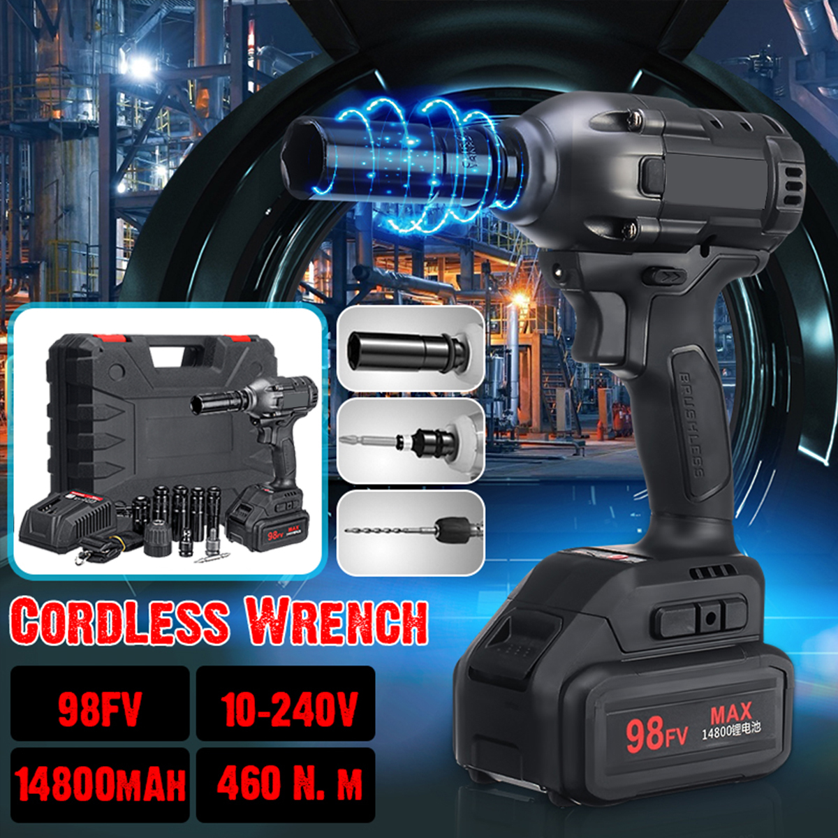 Cordless Brushless Electric Wrench Impact Socket Drill Screwdriver Rechargeable Li-on Battery with Accessories/LED Power Tools