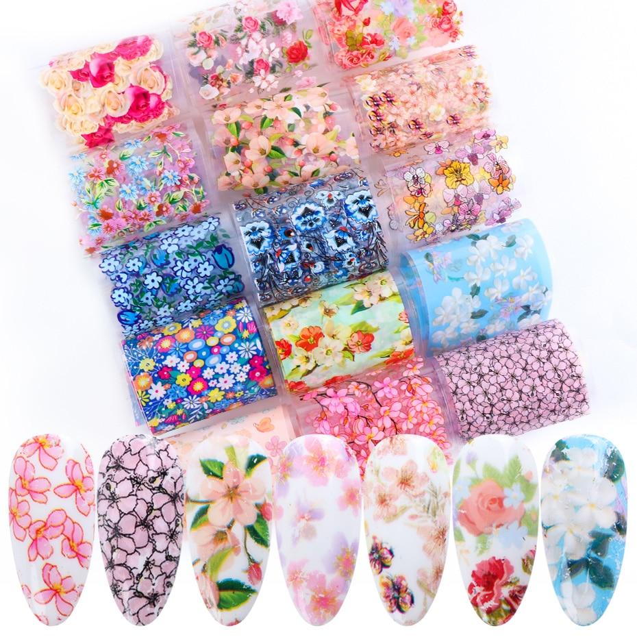 16pcs Stickers For Nail Foil Nail Art Mix Rose Flower Transfer Foil Paper Decoration Manicure Design UV Gel Polish Slider JI2006