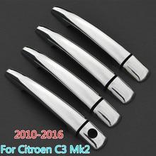 For Citroen C3 Mk2 C3 Picasso Aircross 2010-2016 Chrome Door Handle Covers Trim Set Car Styling 2011 2012 2013 2014 2015 VT VTR+
