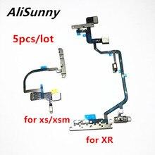 AliSunny 5 adet güç düğmesi esnek kablo XR XS Max açık kapalı ses mikrofon ışık flaş şerit ile metal braket