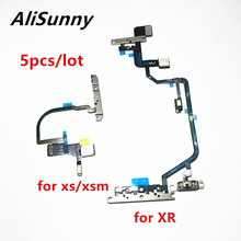 AliSunny 5pcs לחצן הפעלה להגמיש כבל עבור XR XS מקסימום על Off נפח מיקרופון אור פלאש סרט עם מתכת סוגר