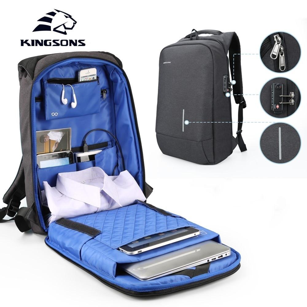 Kingsons Men's Backpack For 13 15 Laptop TSA Lock Anti-theft Bookbag Travel Backpacks External USB Charging School Bag Men Women