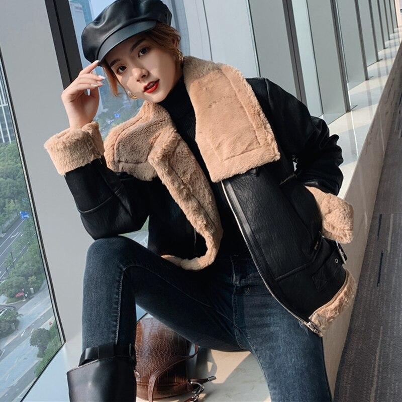 Winter Warm Jas Streetwear Punk PU Jas Faux Fur   Jackets   for Women Motorcycle   Basic     Jackets   Pluche Top Clothing
