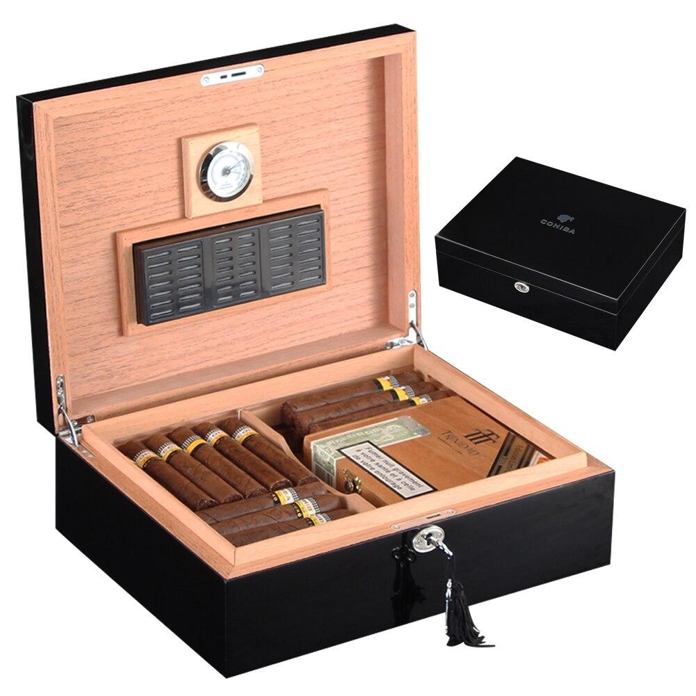 COHIBA czarny z drewna cedrowego cygaro Humidor W/higrometr nawilżacza błyszczący wykończenie drewniane Humidor pudełko do cygar pasuje do 40 50 cygara przypadku w Akcesoria do cygar od Dom i ogród na  Grupa 1
