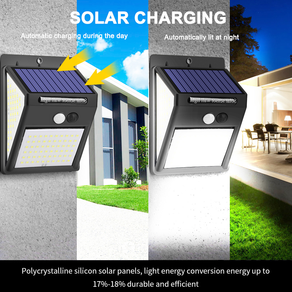 JUNEJOUR 140LED  Outdoor Solar Lamp Powered Sunlight Waterproof PIR Motion Sensor Street Light
