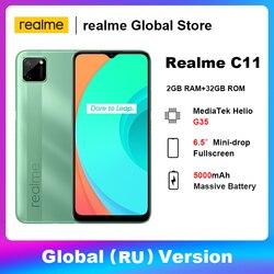 Realme C11 Global (RU) версия 2 ГБ 32 ГБ Bluetooth 5,0 смартфон MTK Helio G35 13MP AI двойная камера емкая батарея 5000 мАч