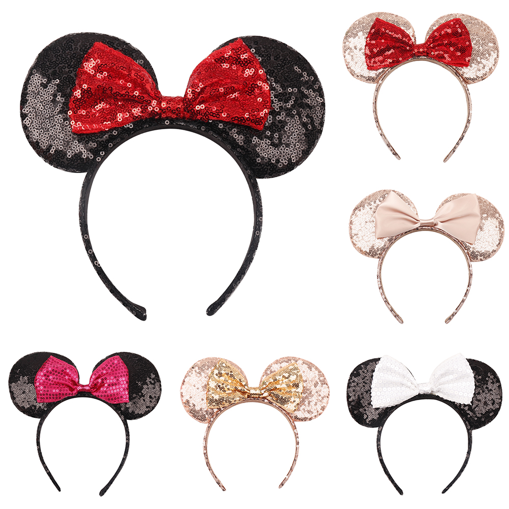 Mickey Mouse Minnie Mouse Bow Hairband Girls  Party Ear Headbands NEW Sequin US