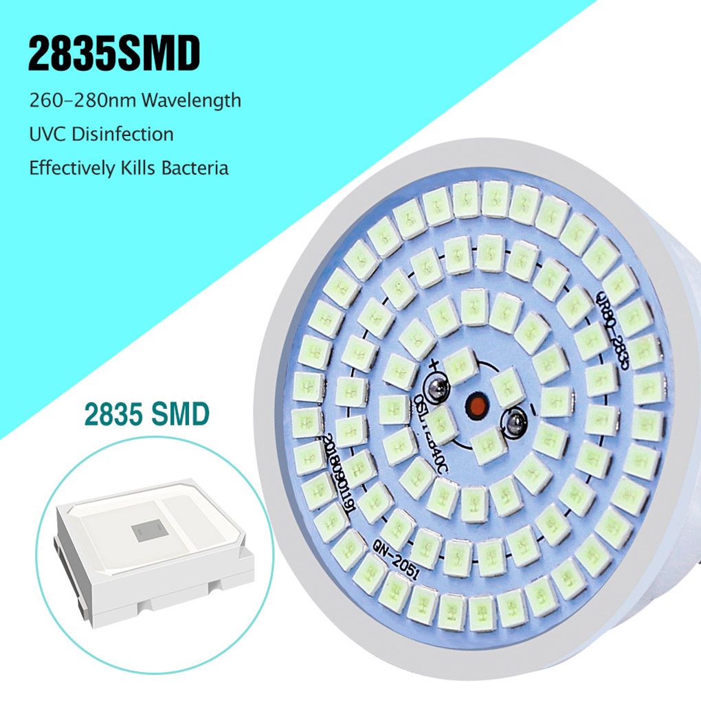 E27 UV Desinfection Lamp E14 LED Sterilizer Lamp B22 MR16 LED UVC Germicidal Bulb GU10 Ultraviolet Light 48 60 80leds