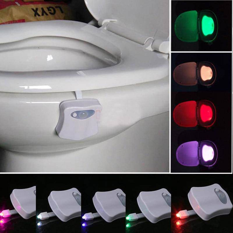 1pcs 1w 4.5v Led Lights 8Colors Night Light BathroomToilet Sensor Human Home Seat Lamp Activated Lights Bathroom Lights