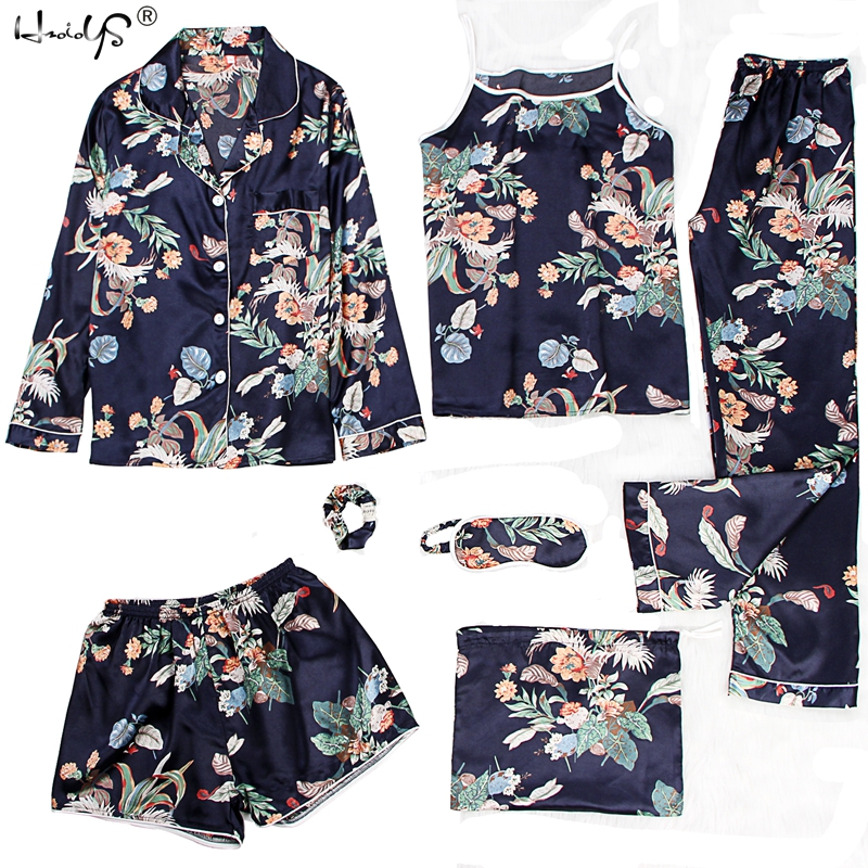 Sleepwear 2 & 7 Pieces Pyjama Set 2019 Women Spring Summer Sexy Silk Pajamas Sets Satin Sleep Suit Sweet Cute Nightwear Homewear