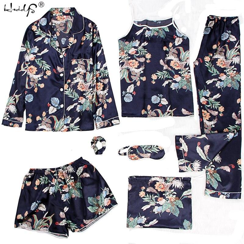 Sleepwear 2 & 7 Pieces Pyjama   Set   2019 Women Spring Summer Sexy Silk   Pajamas     Sets   Satin Sleep Suit Sweet Cute Nightwear Homewear