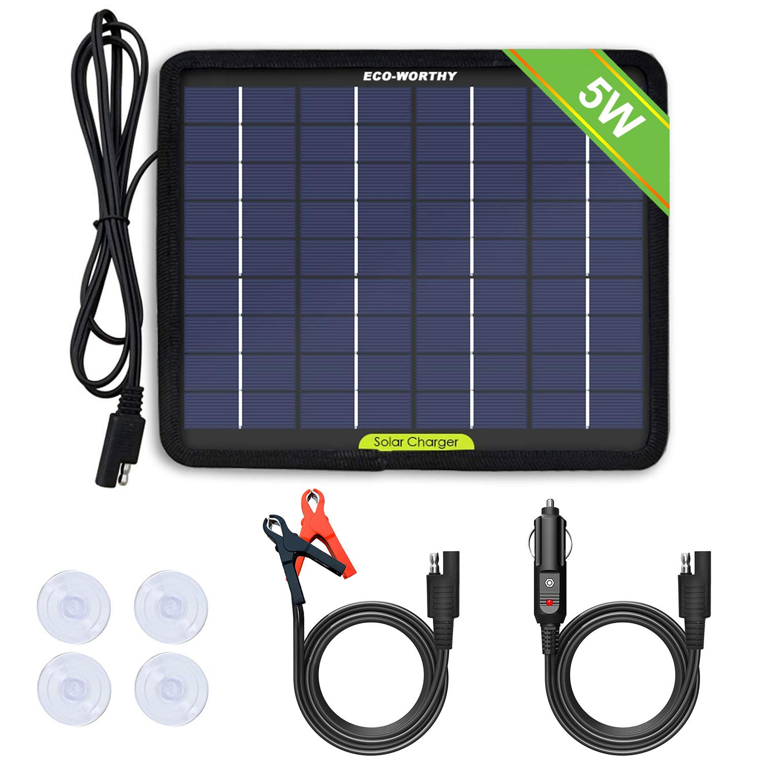 18V 5W Portable Car Boat Automobile Solar Charging Panel Battery Backup Charger
