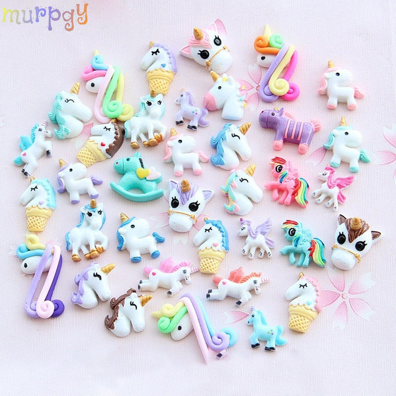 2Pcs Mini Cartoon Unicorn Charms For Slime DIY Phone Decoration  Accessories Charms Lizun Filler Clay Slime Supplies Kids Toys