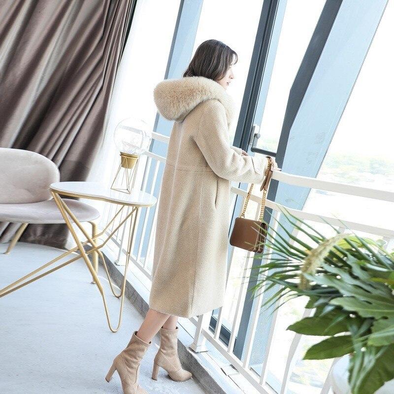 Korean Wool, Fox Collar, Coat, Winter Women, Medium Length, Thin Fashion, Hot Air, Abrigos Women