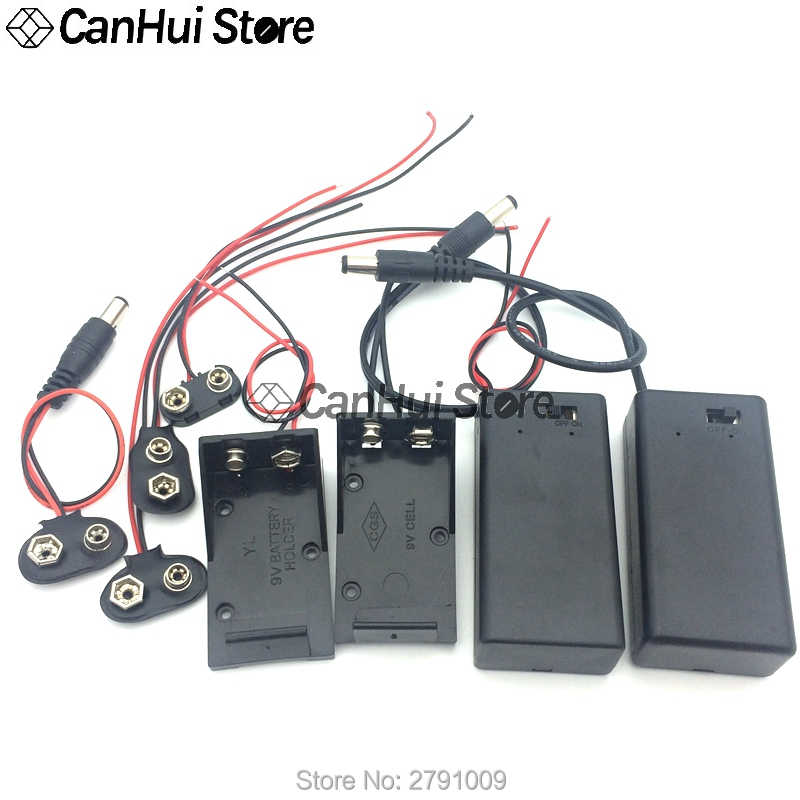 1 adet 9 volt kutusu paketi güç Toggle siyah 9V pil tutucu I/T tipi pil klipsleri konnektör toka ile ON/OFF anahtarı, DC5.5 fiş