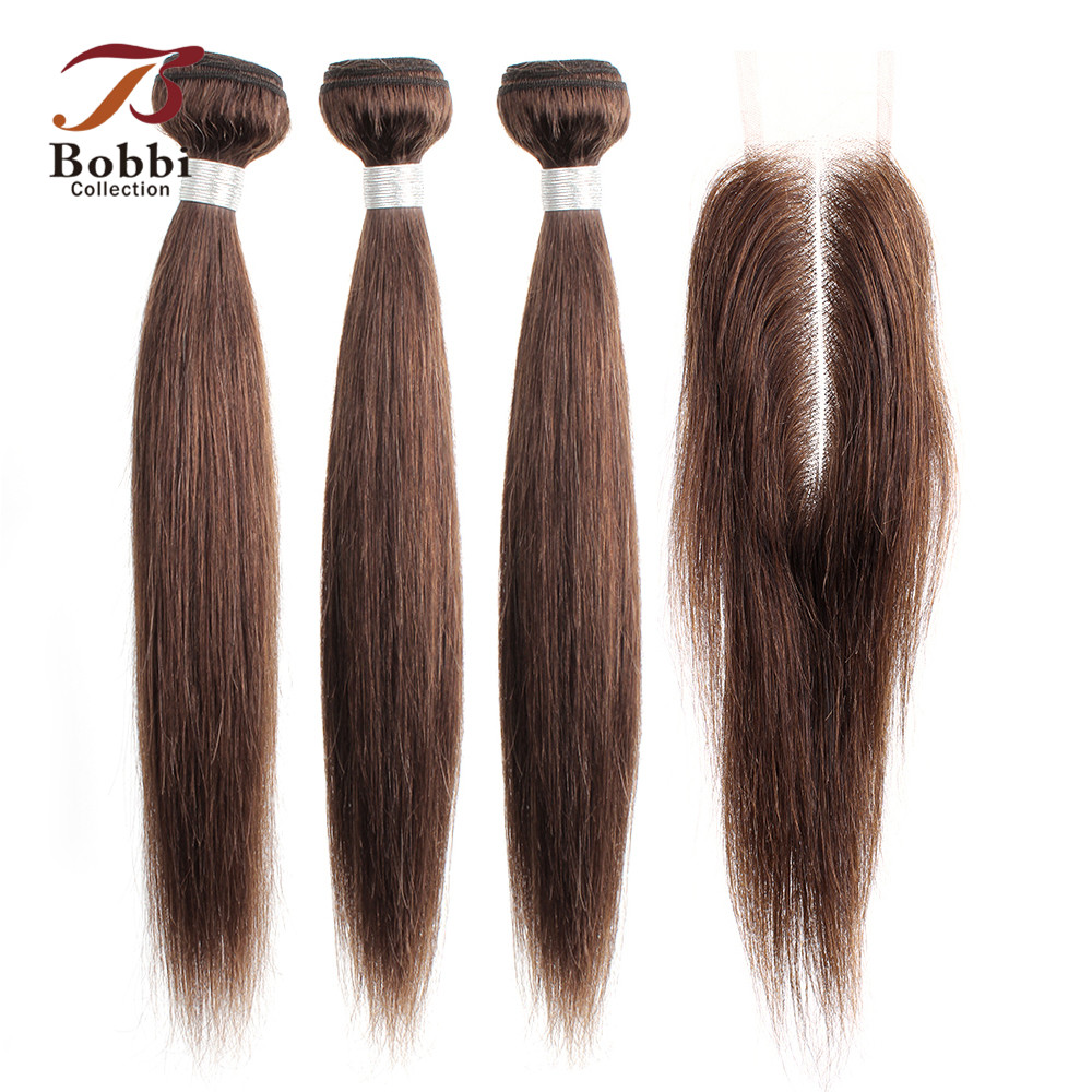 BOBBI COLLECTION Indian Straight Hair Bundles With 2x6 Kim K Closure Brown Non-Remy Human Hair Weave Bundles With Lace Closure