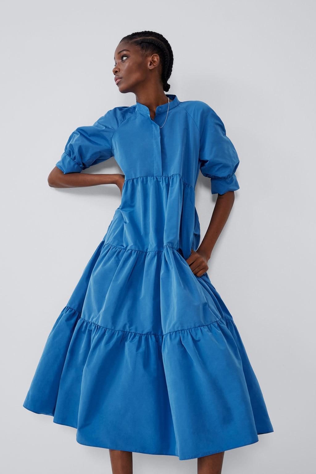 New Women's Autumn Puff Loose Dress ZAraing Vadiming Sheining Women Female Dress 2020 New Streetwear