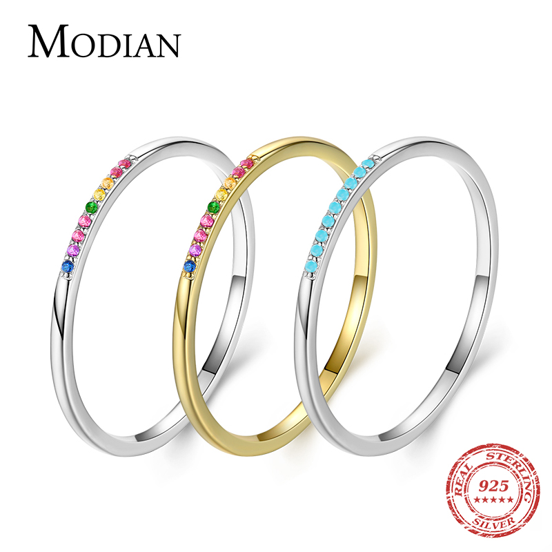 Modian New Real 925 Sterling Silver Trendy Rainbow CZ Stackable Colorful Finger Rings For Women Female Wedding Statement Jewelry
