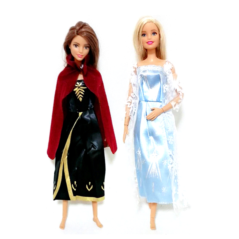 Anna Elsa Cosplay Outfits Clothes Set For 1/6 BJD SD Doll Clothes Accessories Play House Dressing Up Costume Kids Toys Gift