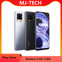 "Global realme 8 6GB 128GB Mobile Phone 64MP Quad Camera 5000mAh 30W Fast Charger 6.4"" Super AMOLED Helio G95 3-card Slot OTA NFC 1"