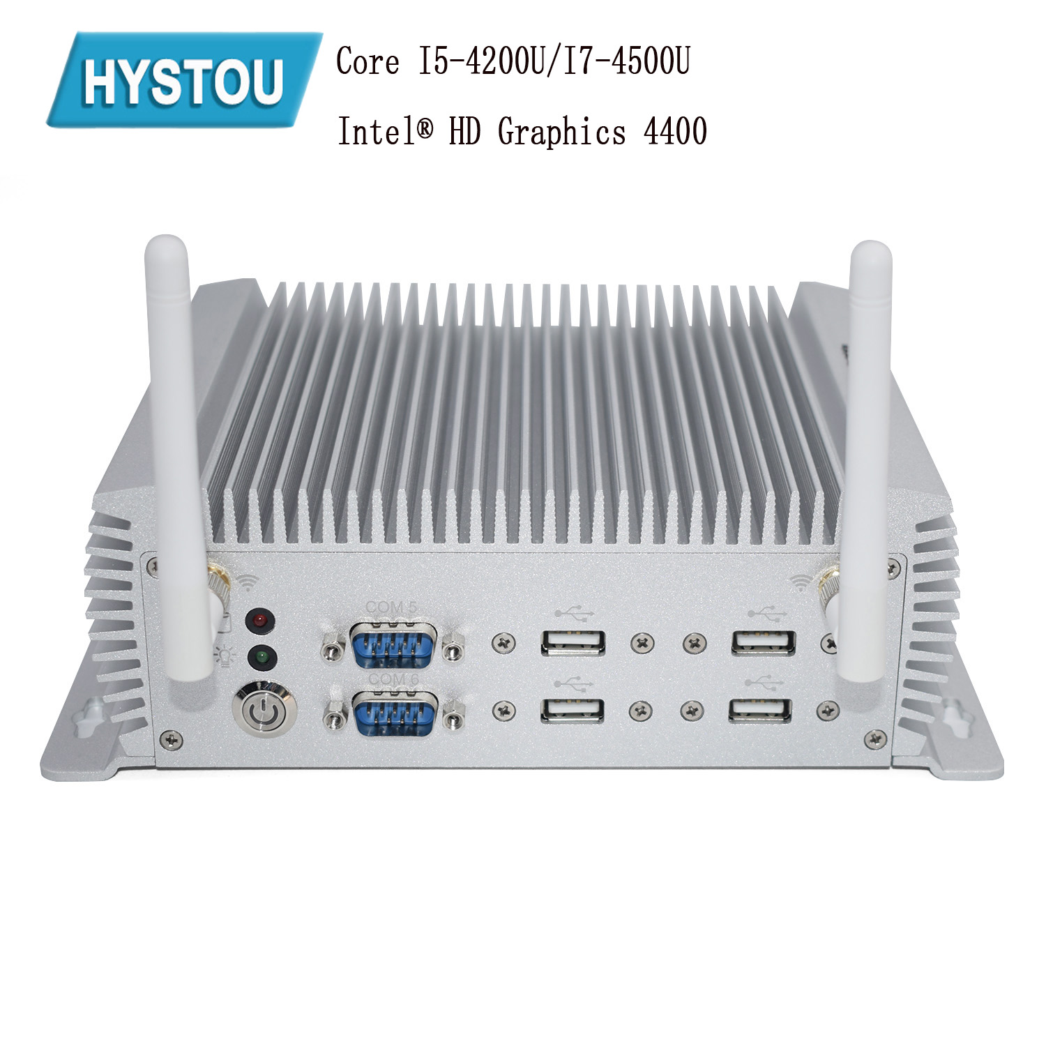 Hystou 2019 New Coming Mini Pc Dual Nuc I7 4500U I5 4200u Windows 10 Linux Pfsence Fanless Industrial Computer Rs232 R485 Com
