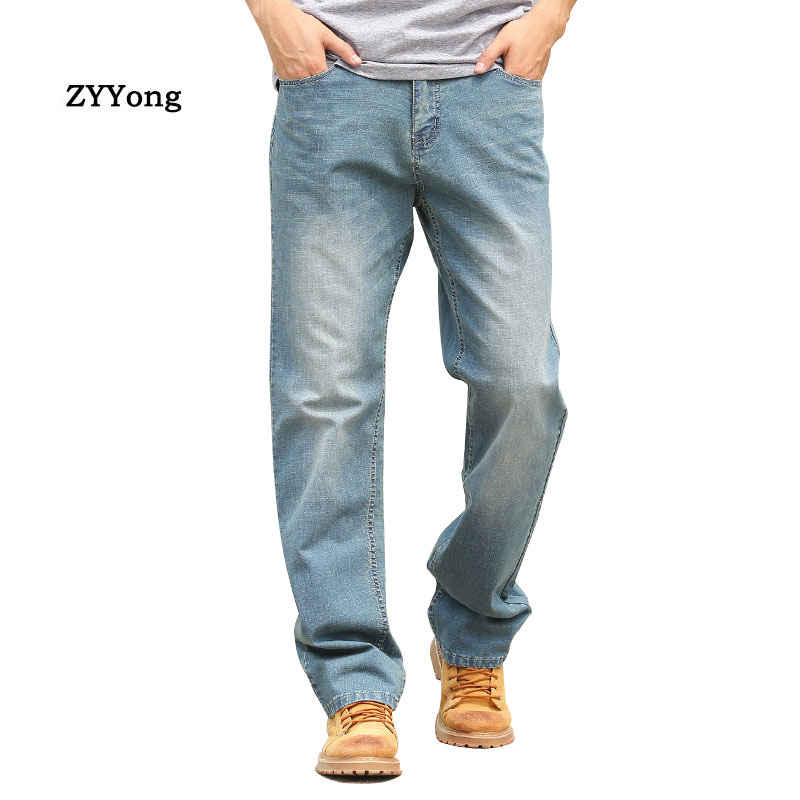 Summer Thin Section Baggy Brand Men Jeans Straight Large Size Elastic  Comfortable Denim Pants Hip Hop Streetwear Blue Trousers