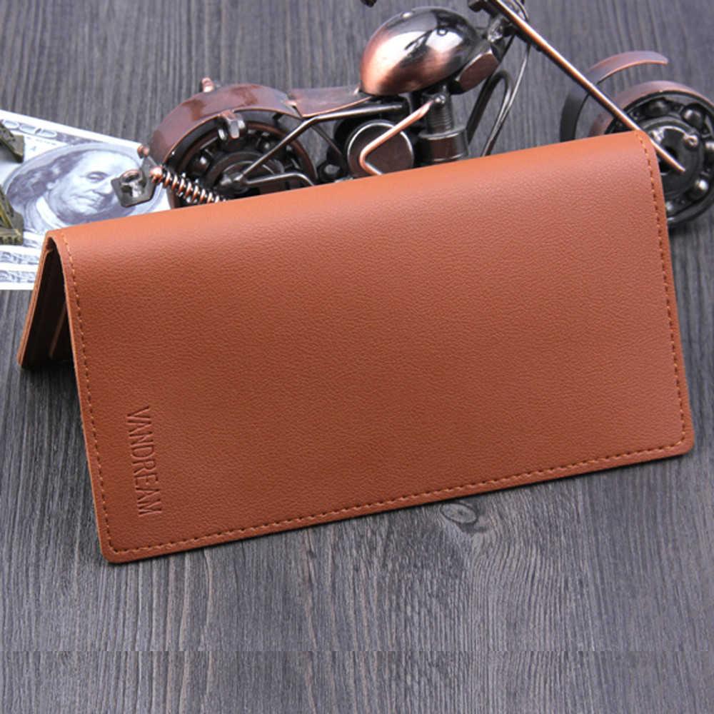 Wysokiej jakości skórzany portfel długie portfele kopertówki mężczyźni biznes etui na karty dla mężczyzn nowy 2019 HotBifold torebka moda mężczyzna 816