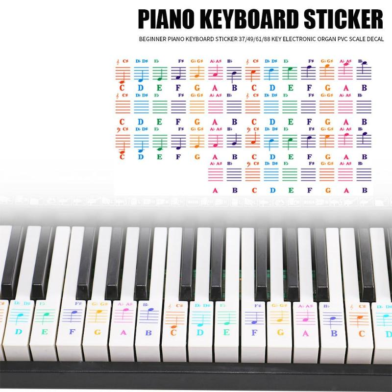 Durable Spectrum Keyboard Sticker Hit Color Transparent 25/49/61/76/88 Key Piano Keyboard Stave Note Sticker For Children