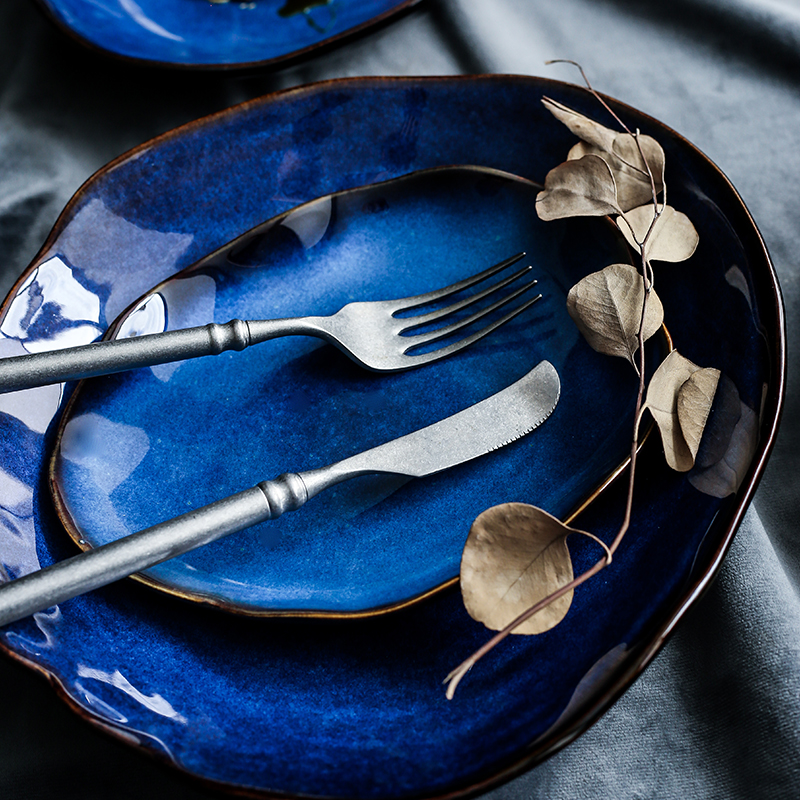 Nordic Cat's Eye Blue Organic Dinnerware