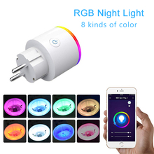 RGB Smart Plug Wifi Socket Tuya Life App smart wireless wifi power outlet with Google Home Alexa Voice Control