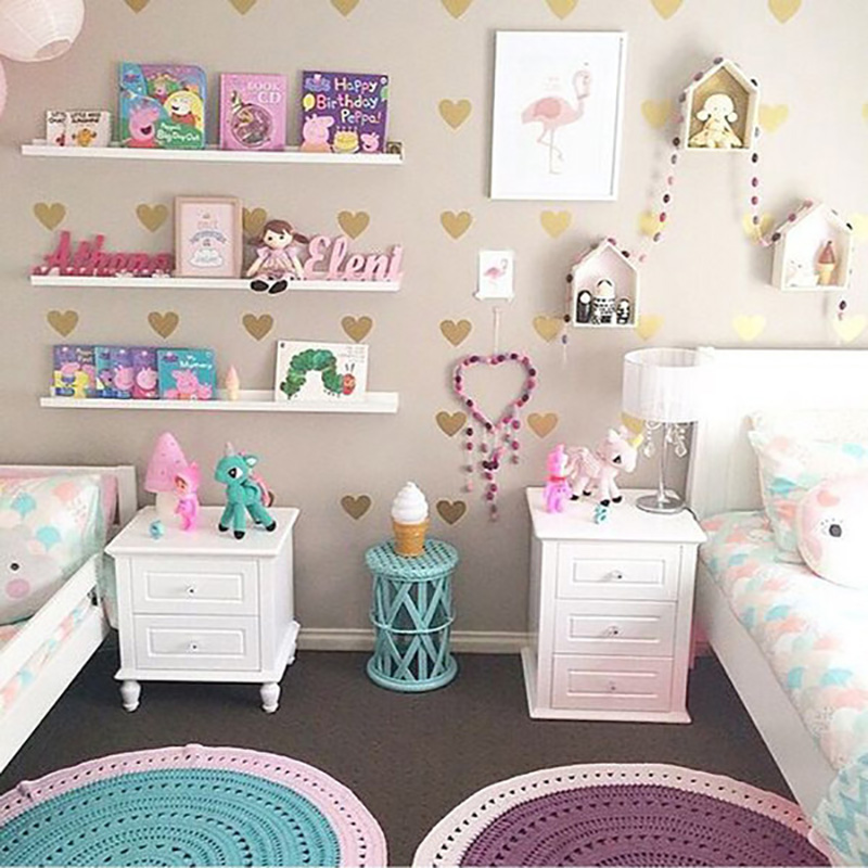 Gold Hearts Wall Stickers For Kids Room Bedroom Living Room Home Decoration DIY Stickers Baby Girl Wall Decals Nursery Room