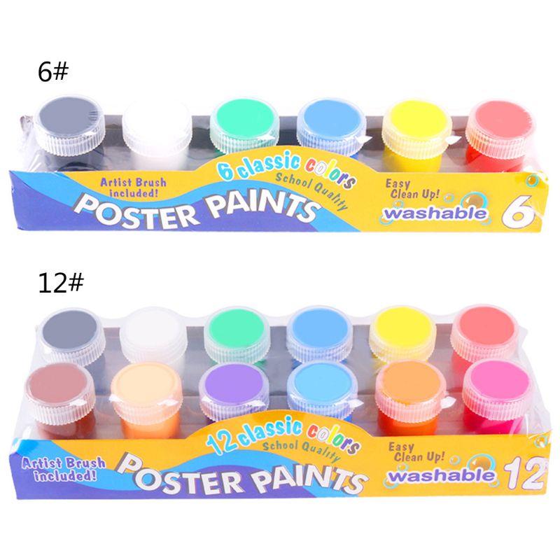 20ml 6 Bright Colors Washable Gouache Paint For Kids School Finger Paint 19QA