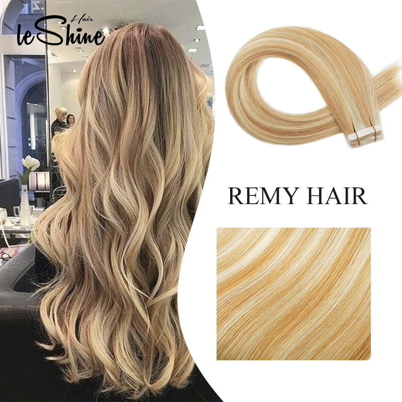 Leshine Tape In HumanHair Extensions Real Hair Extensions 100% Remy Hair Balayage Human Hair Extensions Double Drawn Hair