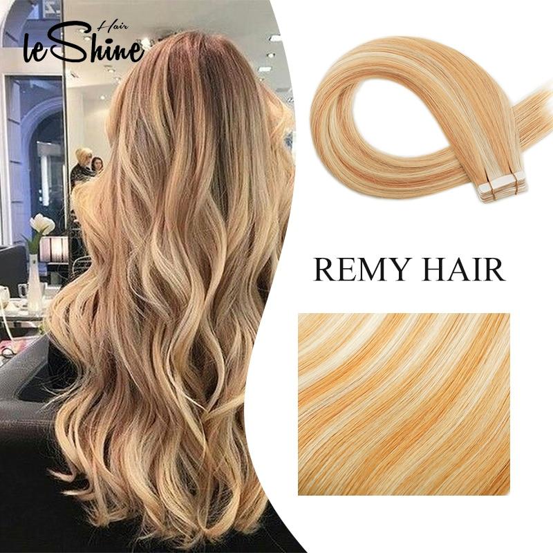 Leshine Tape In HumanHair Extensions Real Hair Extensions 100% Remy Hair Balayage Human Hair Extensions Double Drawn Hair