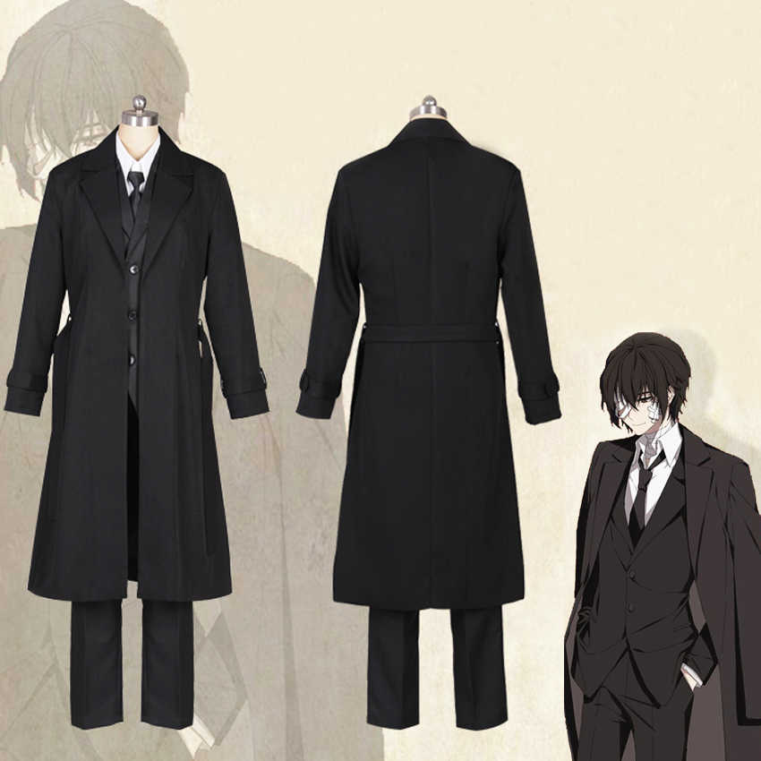 Anime Bungo Zwerfhonden Dazai Osamu Cosplay Kostuum Zwarte Geul Outfit Jas Anime Mannen Volwassen Halloween Kerst Kostuums Jas