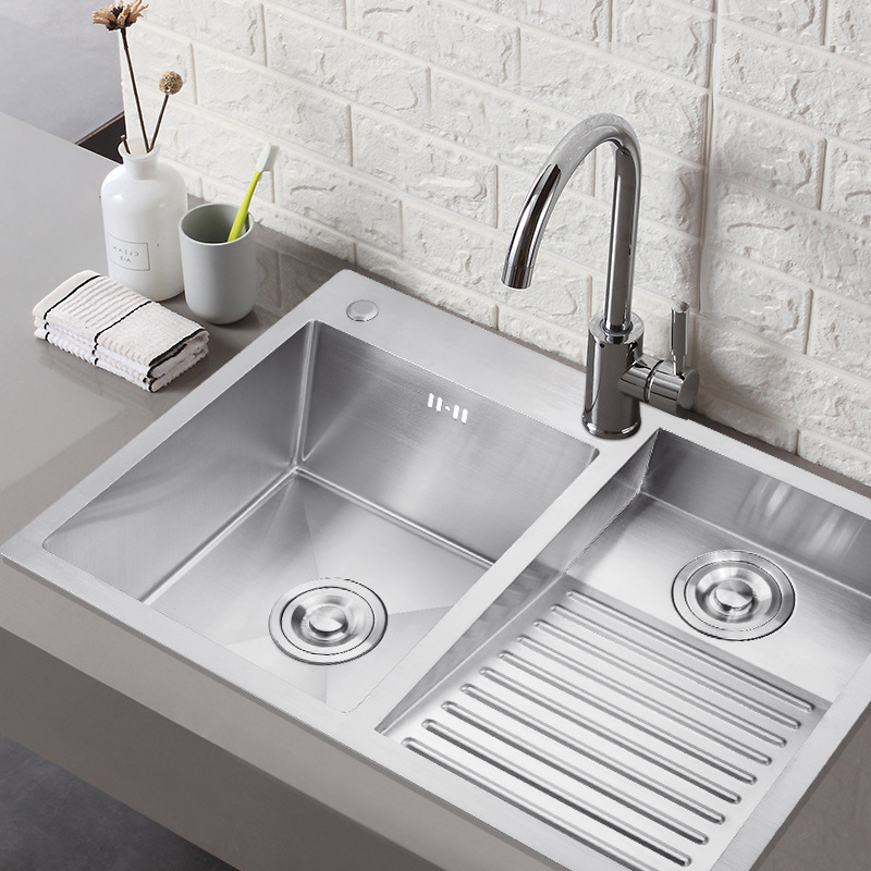 304 stainless steel manual laundry sink with washboard integrated balcony double bowl laundry tub single slot thickened sink