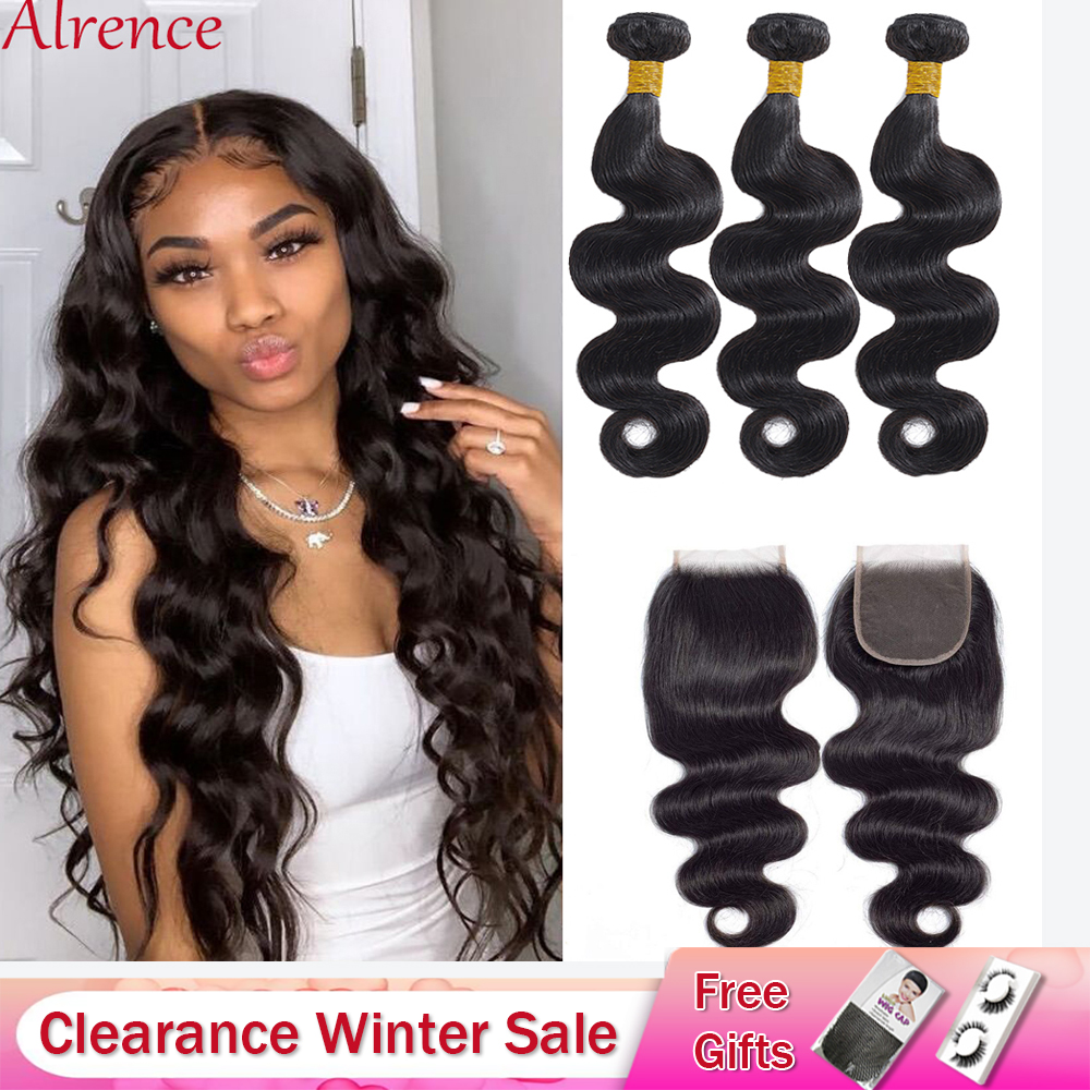 Body Wave Bundles With Closure Brazilian Hair Weave Bundles With Closure Body Human Hair 3 Bundles With Closure Hair Extension title=