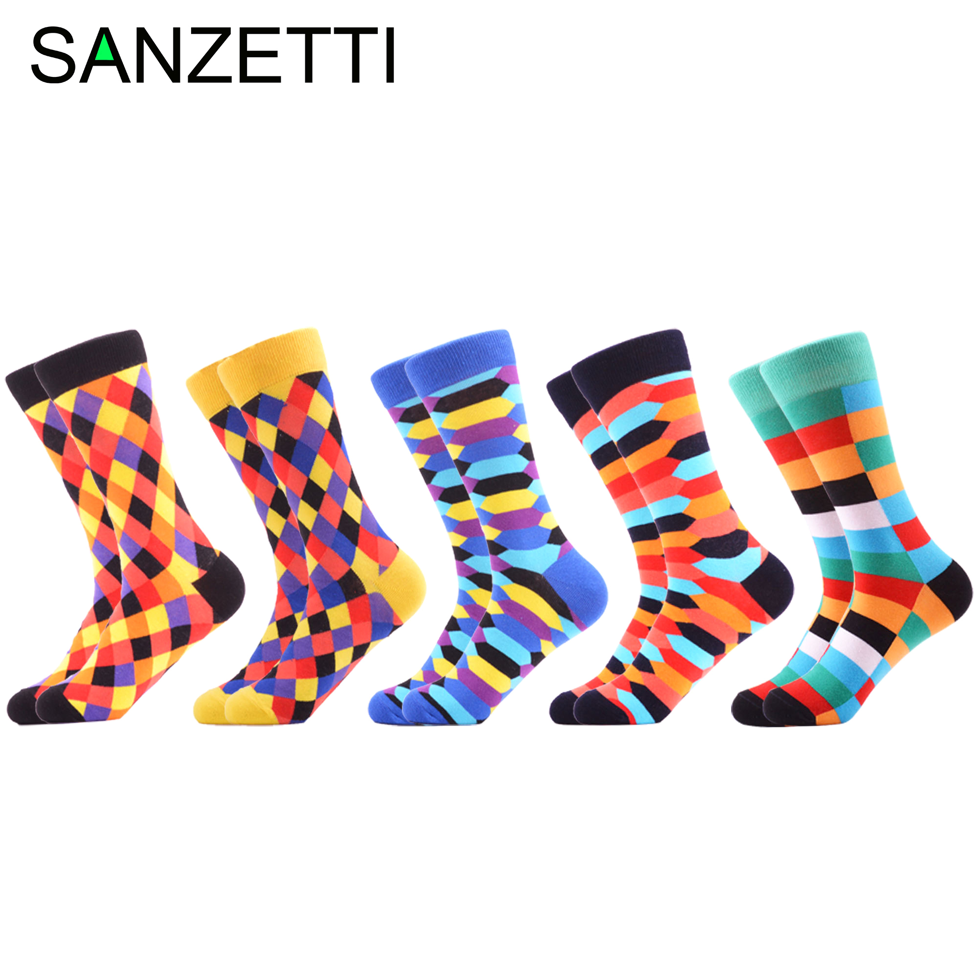 SANZETTI 5 Pairs/2020 New Happy Men's Causal Socks Novelty Irregular Rhombus Pattern Rectangle Dress Socks Gift Wedding Socks