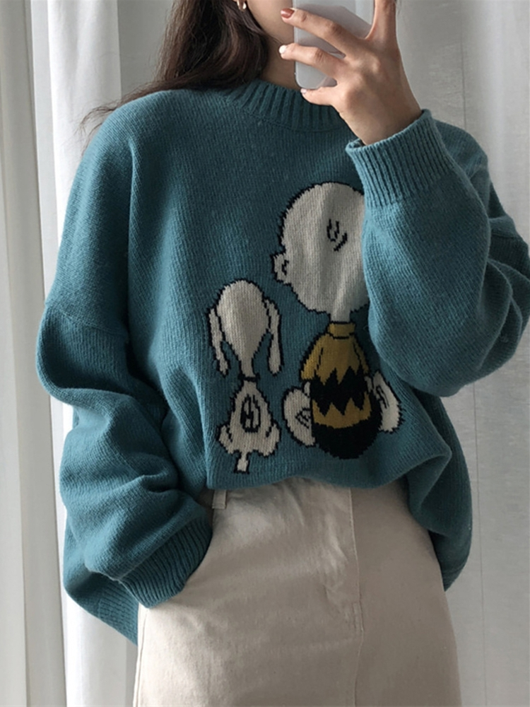 Knitted Sweater 2020 Spring Winter Women Clothes New Cute Cartoon Pattern Loose Long Sleeve Pullover Sweater Women Tops 781EG