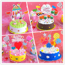 Children DIY Nontoxic Fimo Plasticine Simulation Birthday Cake Model Polymer Clay Playdough Cake Toys Set Intelligence Toys liyuan 12 colors diy nontoxic malleable fimo polymer clay playdough soft power play dough plasticine gifts for children