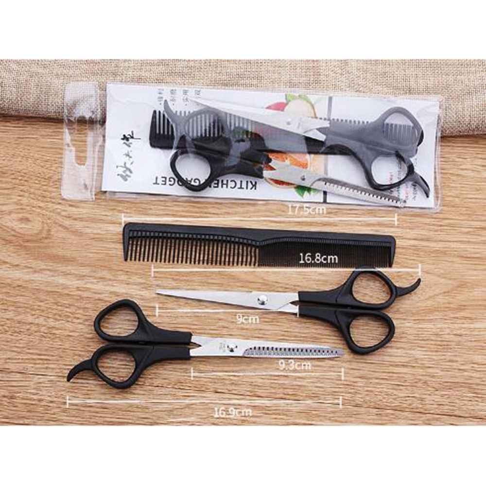 3PC nożyce do cięcia włosów Salon profesjonalny fryzjer ścinanie włosów degażówki zestaw fryzjerski urządzenie do stylizacji grzebień fryzjerski