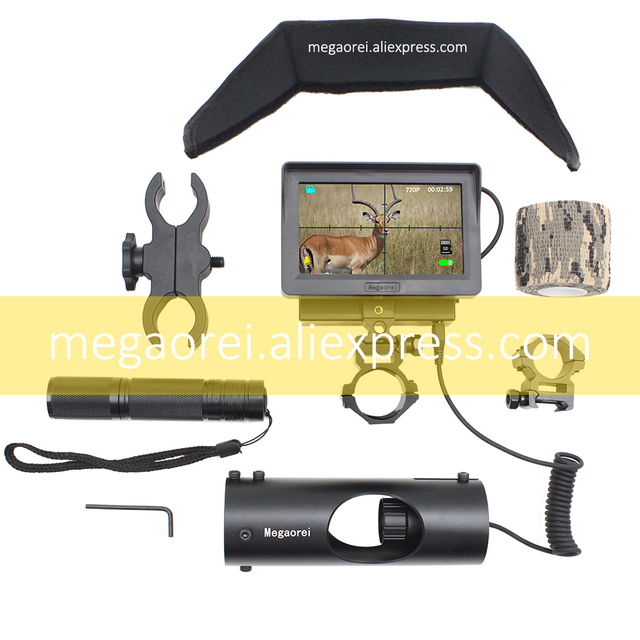 Megaorei2 Sniper Night Vision Device Rifle Scope Hunting Camcorder Video Camera with Laser Infrared Flashlight and LCD Screen 5