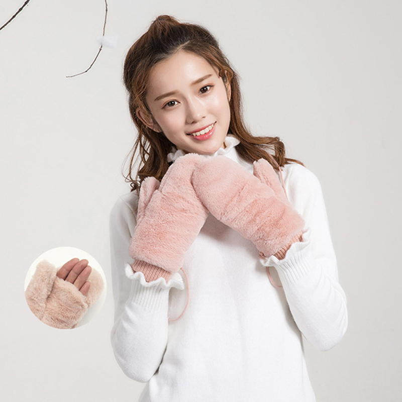 Solid Color Winter Gloves For Women Ladies Girls Thick Warm Outdoor Gloves Mittens Female Plus Plush Mittens