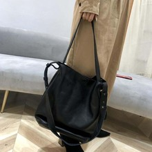 Two Strap Use Genuine Leather Bucket Bag Top Women Handbag H