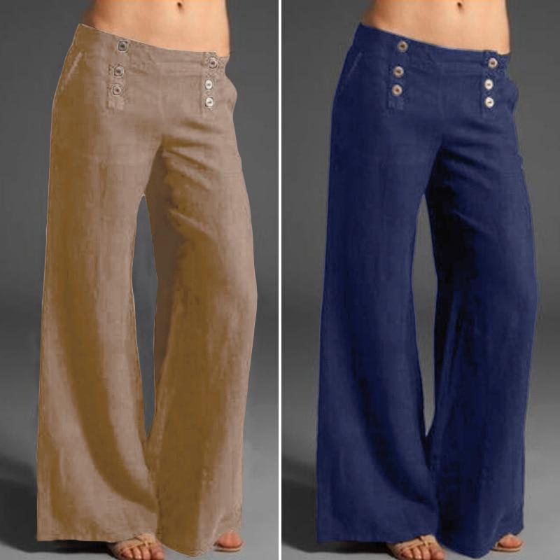 Stylish Button Wide Leg Pants Women Spring Trousers 2020 ZANZEA Casual High Elastic Wasit Long Pantalon Palazzo Oversized Turnip
