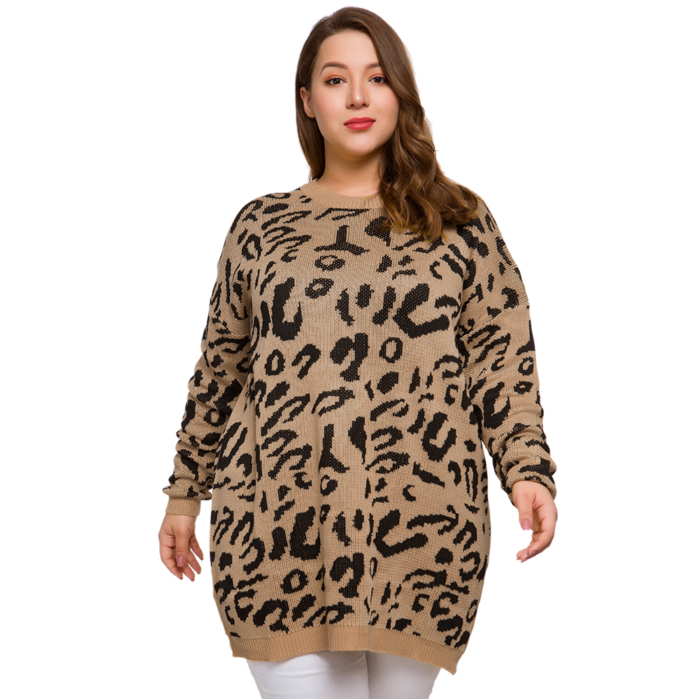 2019 New Fashion Women Autumn Outfit Knit Oversized XXXXL Plus Size Big Large Sweaters Leopard Print Long Leisure Sweater