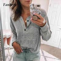 Fanbety Frauen Herbst Langarm Taste Rippe Bluse Elegante 2019 winter casual einfarbig grundlegende hemd blusas Dame plus größe tops